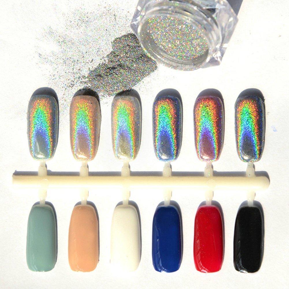 Demarkt 1 caja de polvo mágico del espejo Efecto arco iris de plata ...