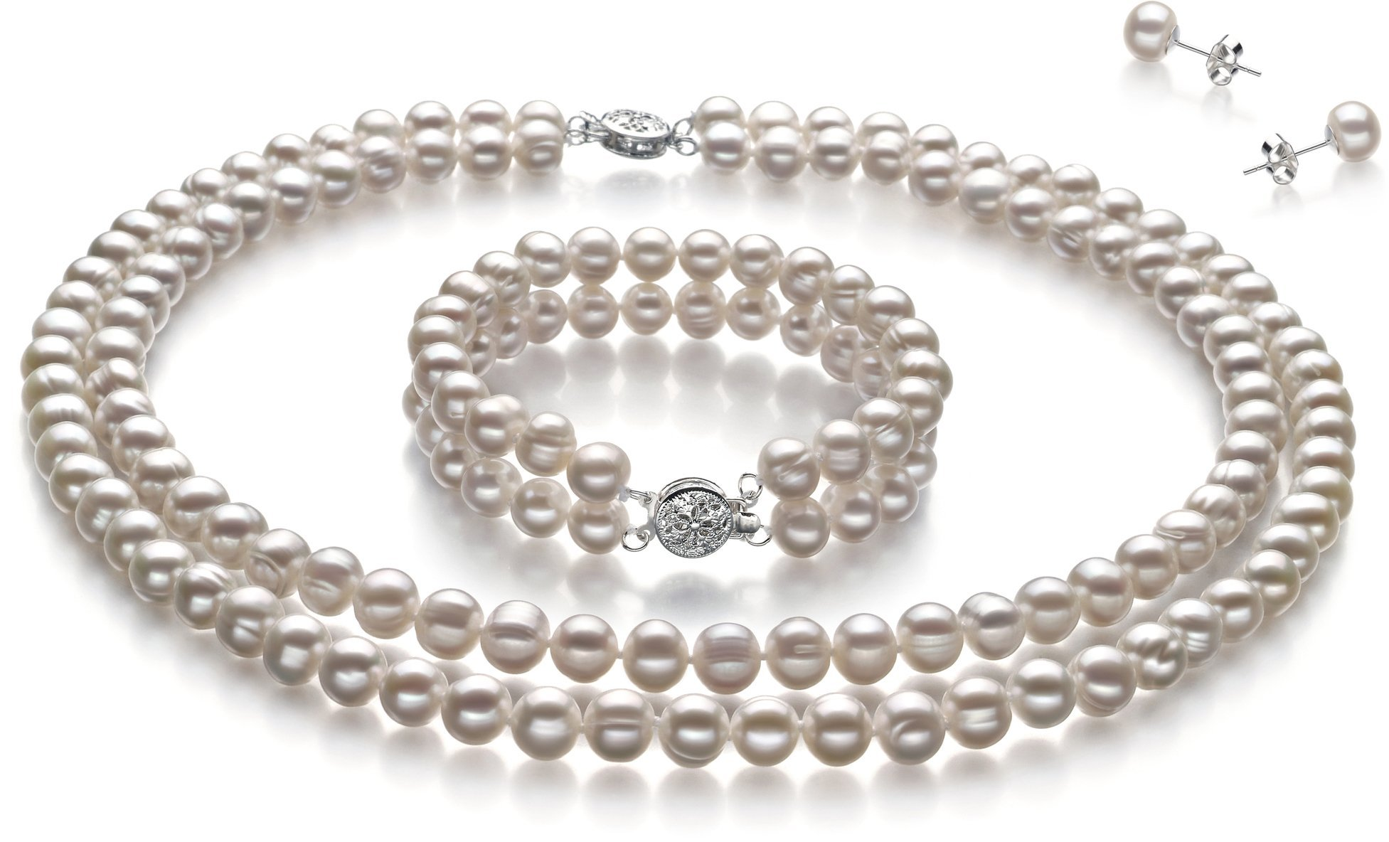 PearlsOnly Juliane White 6-7mm Double Strand A Quality Freshwater Cultured Pearl Set-23 in Matinee length