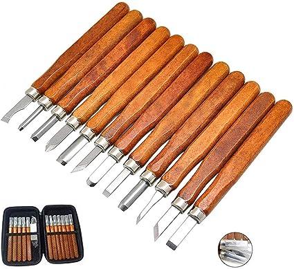bambini e principianti con custodia per il trasporto gomma 12 pezzi strumenti professionali per intagliare il legno Set di scalpelli per intagliare il legno sapone e zucca