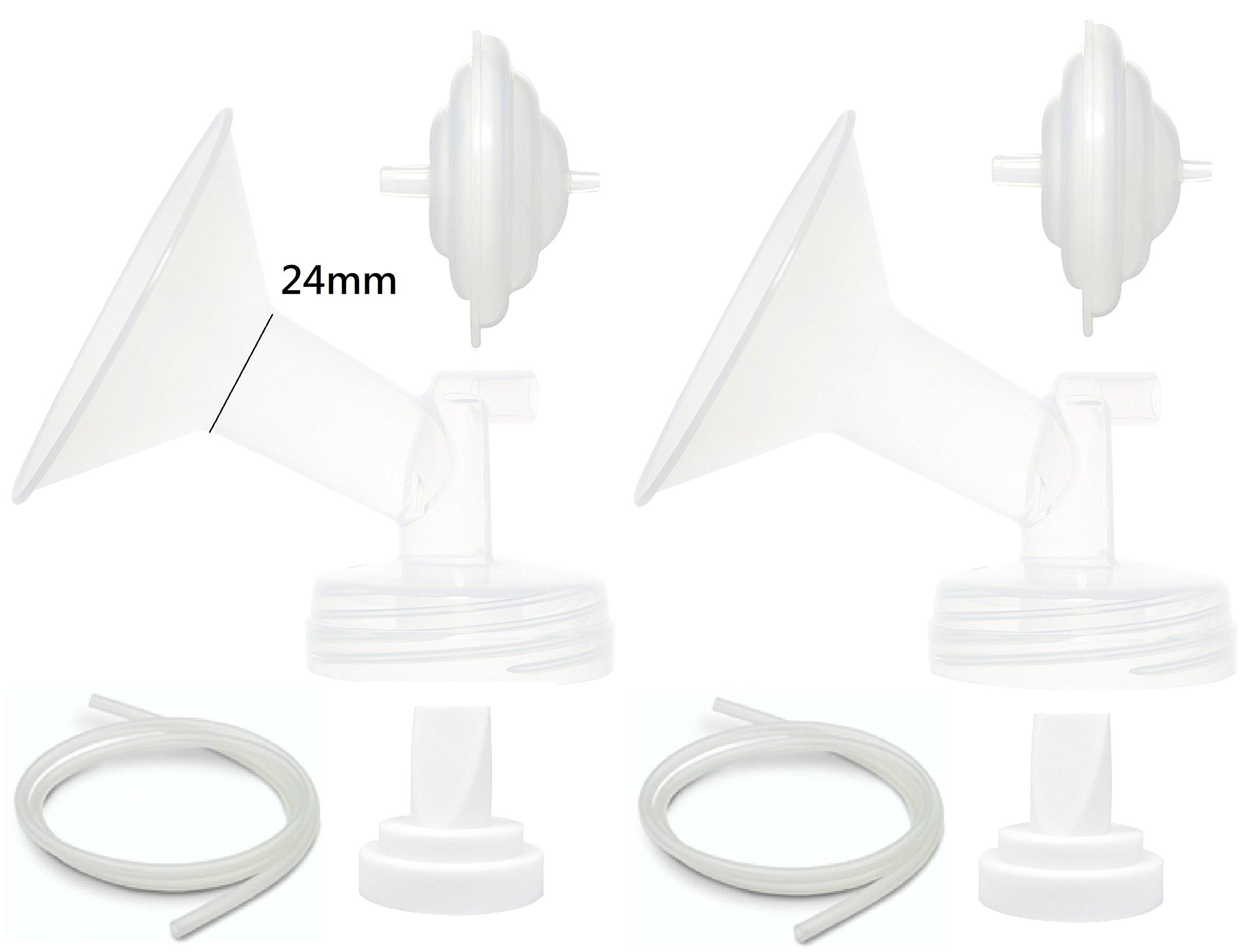 Nenesupply Aftermarket Pump Parts for Spectra S2 Spectra S1 Spectra 9 Plus Breastpump Flange Valve Tubing Backflow Protector Not Original Spectra Parts (Flange 24mm (M))