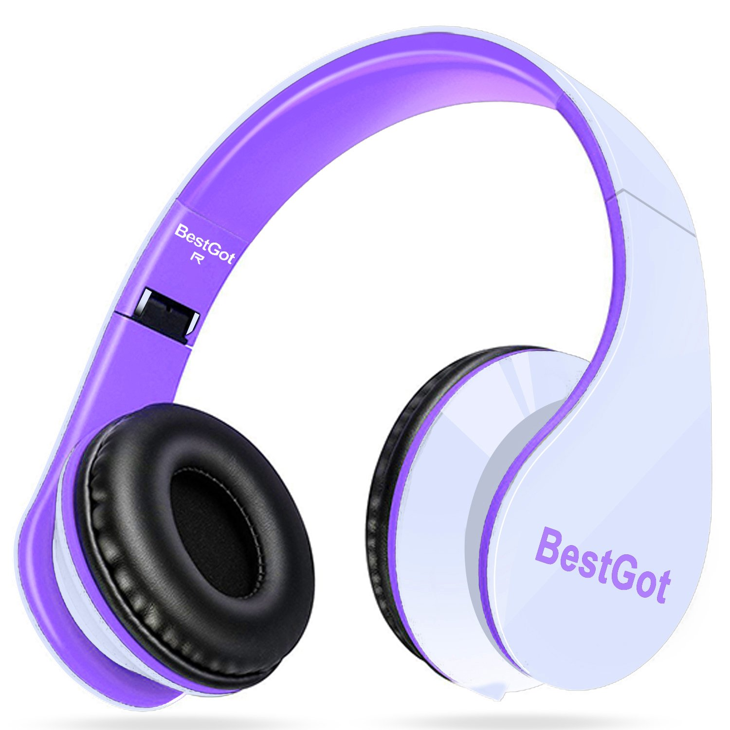 BestGot Headphones Over Ear with microphone for kids adult In-line Volume with Transport Waterproof Bag Foldable Headphone with 3.5mm plug removable cord (White/Purple) by Bestgot