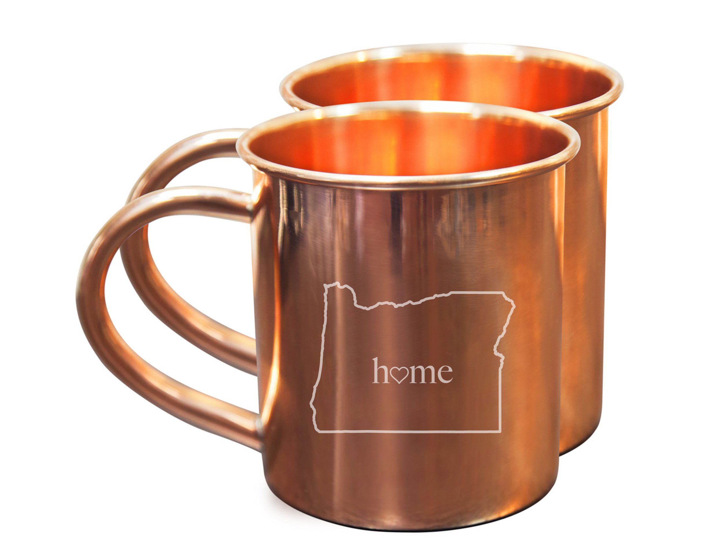 Home State Copper Mugs for Moscow Mules - Oregon Mug - 100% Pure Copper Mug - Best For Moscow Mule Lovers - Set of 2 Copper Cups – 14 oz Size By Alchemade