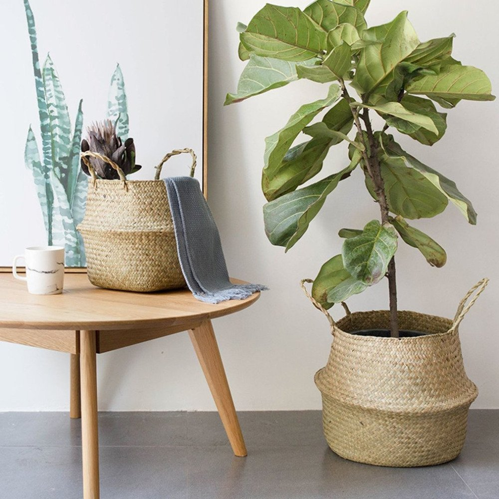 Gold Happy Foldable Natural Seagrass Woven Storage Pot Garden Flower Vase Hanging Basket With Handle Storage Bellied Basket