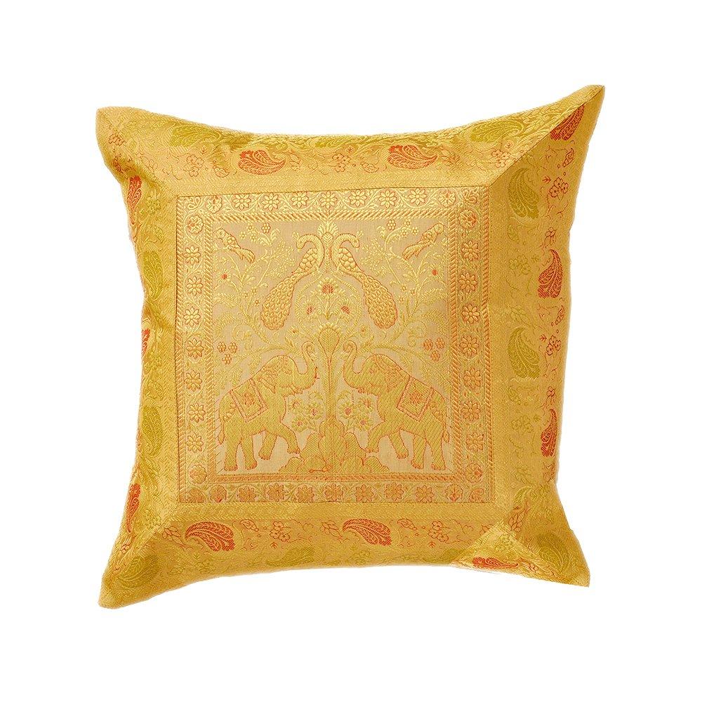 Indian Brocade Elephantハンドメイド枕カバークッションDesigner Tossカバーs-791 B075KL6TXT