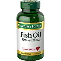 Nature's Bounty Fish Oil 1200 mg Omega-3, Heart Health, 200 Rapid Release Softgels