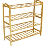 ALLMILL 100% Natural Bamboo 4-Tier Shoe Rack Entryway Shoe Shelf Storage Organizer (4-Tier)