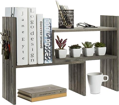 MyGift Vintage Gray Solid Wood Adjustable Desktop Bookcase Corner Shelf Display Rack