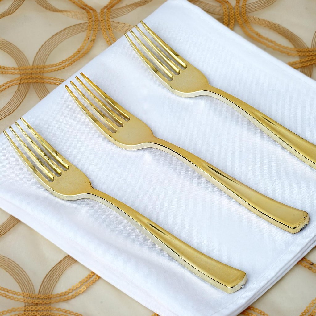 Efavormart 100pcs Metallic Gold Disposable Plastic Fork for Wedding Birthday Party Banquet Events Candy Buffets by Efavormart.com