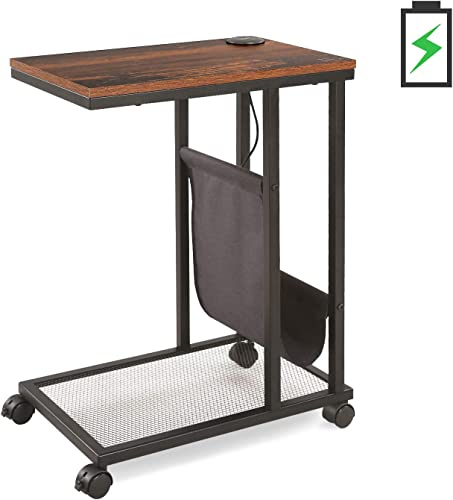 WLIVE Industrial Side Table, Mobile End Table with 2 USB Ports, Accent C Shaped Table with Mesh Shelf and Side Pocket for Sofa Couch and Bed, in Living Room or Bedroom, Rustic O9 Oak