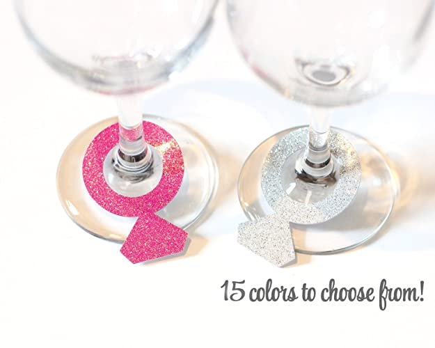 Amazon.com: Glitter Diamond Ring Wine Glass Charms - any color: Handmade