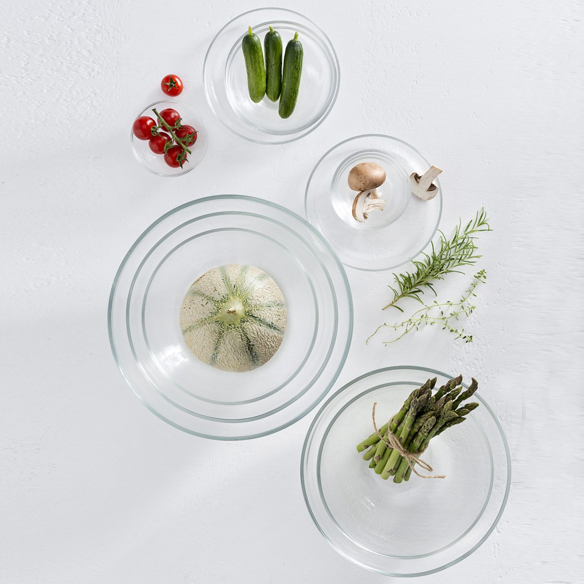 LEONARDO Cucina Insalatiera Rotondo Vetro Trasparente 1pezzo i