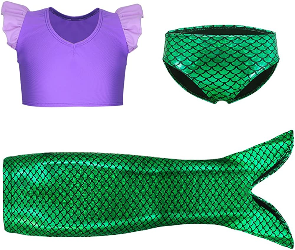 3Pcs Girls Swimwear Ruffle Top Bikini Swimsuits Party Mermaid Costume