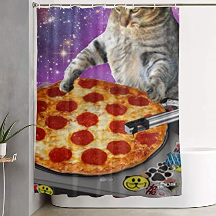 Amazon ELKFOREST DJ Cat Pizza Shower Curtain Polyester Fabric