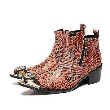 Mr.Zhangs Art Home Mens shoes Los Botines para Hombre de Color marrón Aumentaron el