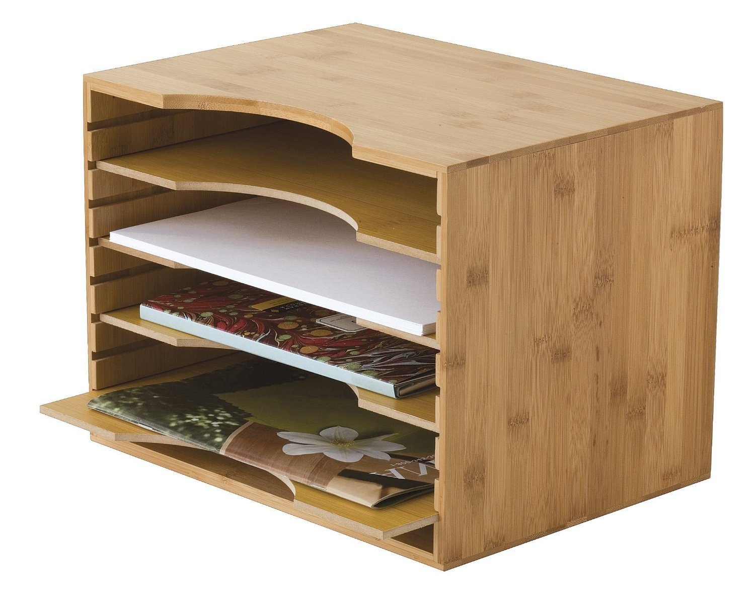 File Organizer Mail sorter, With Four Adjustable Dividers Natural Bamboo wood Color By Intriom Bamboo Collection (File Organizer) by Intriom (Image #2)