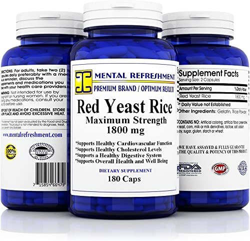 Premium Red Yeast Rice – Max Potency 1800 mg, 180 Vegetarian Capsules – for Healthy Cholesterol Levels and Cardiovascular Support