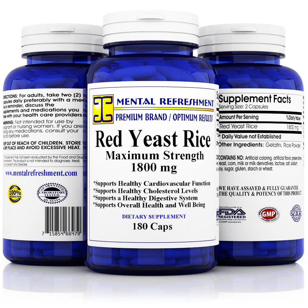 Premium Red Yeast Rice - Max Potency 1800 mg, 180 Vegetarian Capsules - for Healthy Cholesterol Levels and Cardiovascular Support