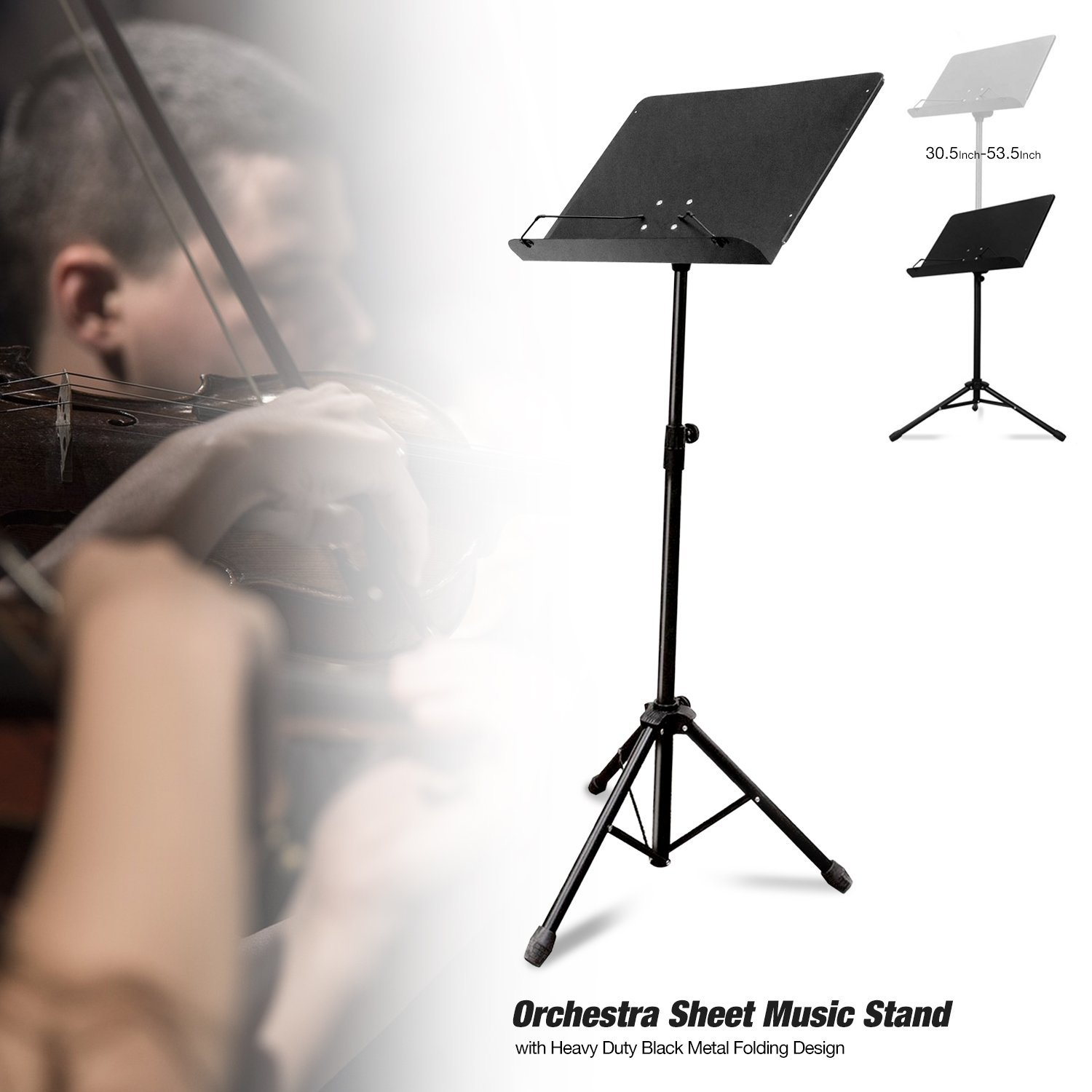 PARTYSAVING Orchestra Sheet Music Stand with Heavy Duty Black Metal Folding Design, 53.5-inch Tall, APL1282