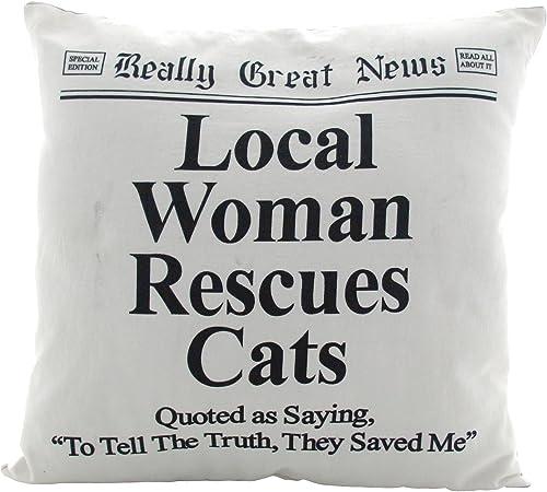 Enesco Woman Rescue Cats Pillow, Multicolor