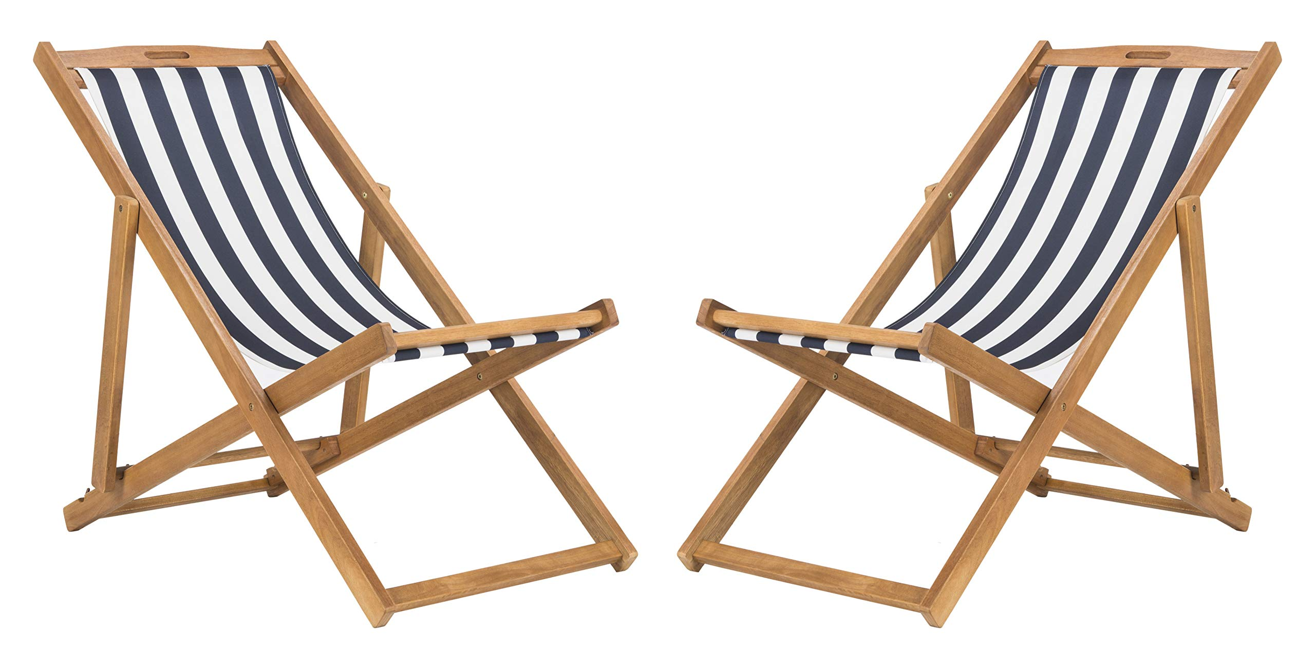 Safavieh PAT7040A-SET2 Outdoor Collection Loren Teak, Navy and White Foldable Sling Adirondack Chair