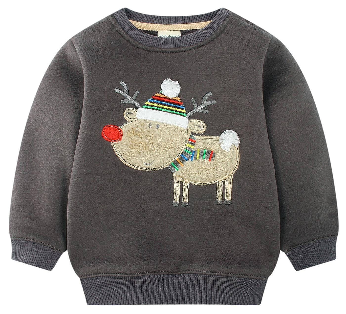 mimiwinga - Sweat-Shirt Polaire en Coton pour Bébé Garçon Sweater Manche Longue d'enfant pour Automne Hiver Bordé de Dessin de Renne Gris 1-5 Ans JWFS0532