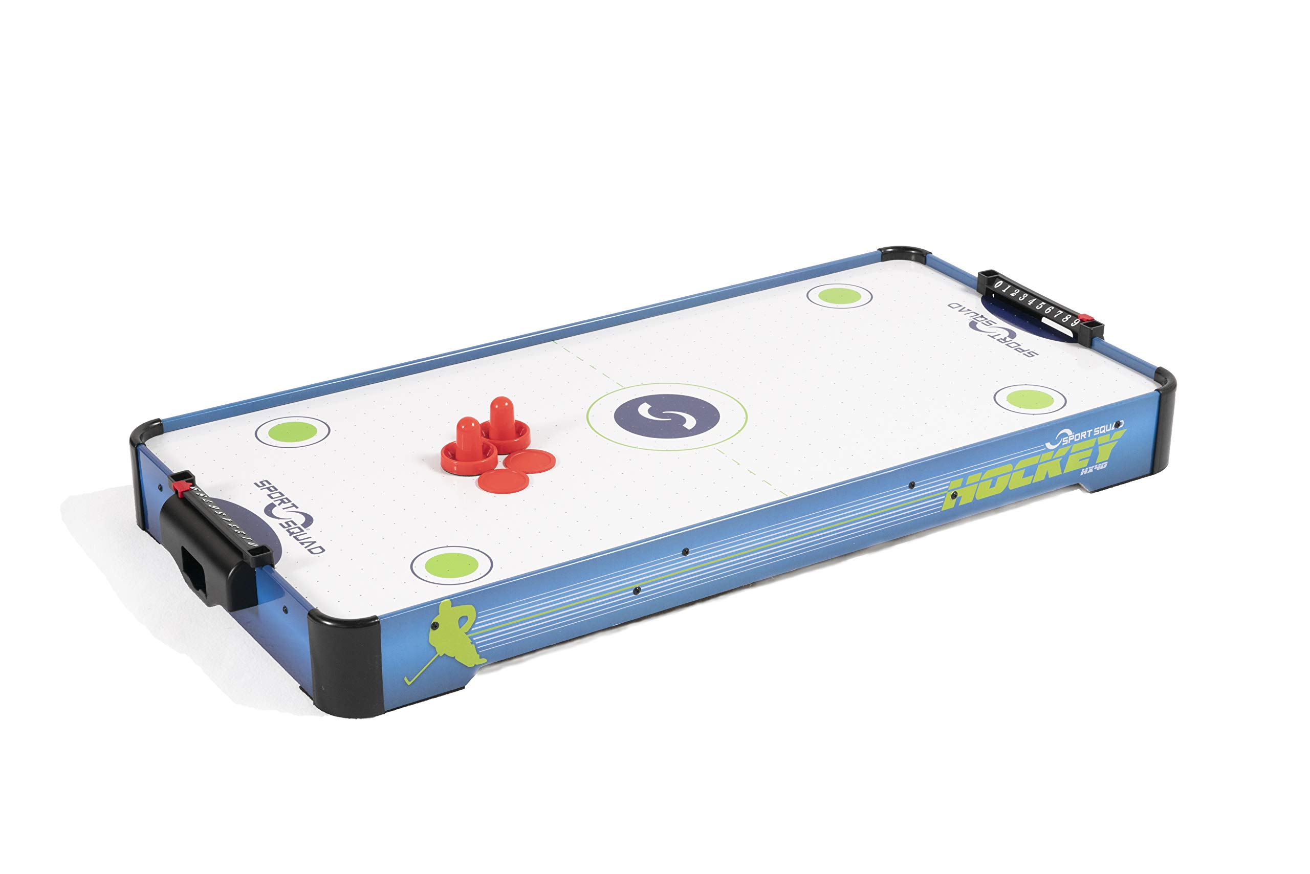Sport Squad HX40 40 inch Table Top Air Hockey Table for Kids and Adults - Electric Motor Fan - Includes 2 Pushers and 2 Air Hockey Pucks - Great for Playing on The Floor, Tabletop, or Dorm Room by Sport Squad
