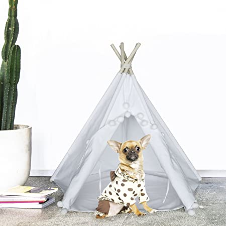 UKadou Pet Teepee Tent for Dogs Cats Foldable Portable Cotton Canvas Pet Bed House for Rabbit Puppy 5 Poles Dog Tent with Floor 24 Inches White Color Pompom Style