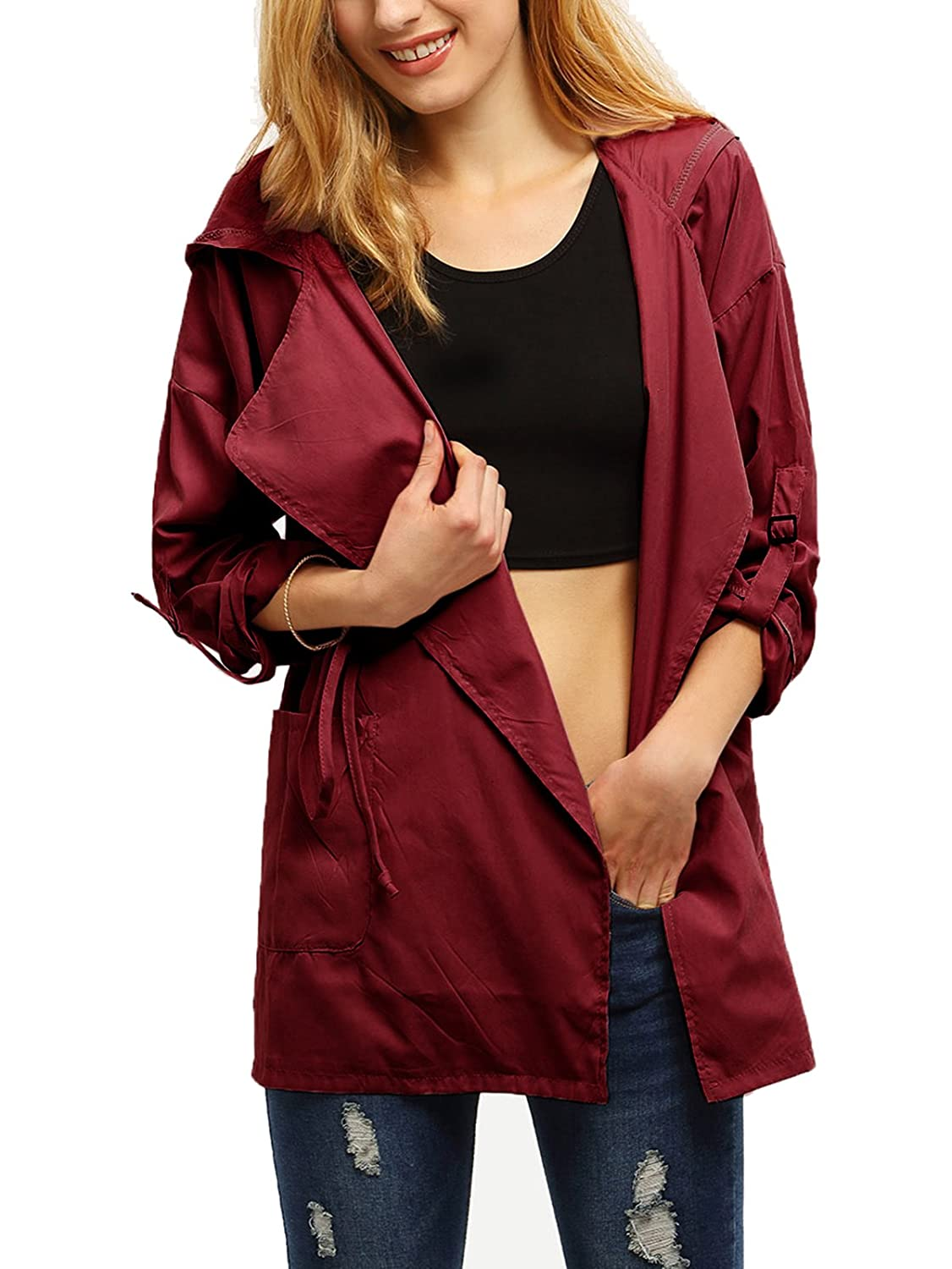 Burgundy Milumia Women's Casual Lightweight RollUp Sleeve Drawstring Hooded Coat