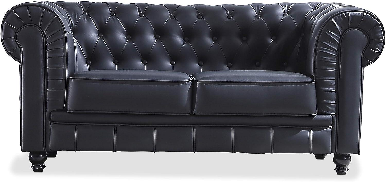 Sofa de Dos plazas, Sillon Descanso 2 Personas Acabado en simil Piel Color Negro, Medidas: 166 cm (Largo) x 84 cm (Fondo) x 75 cm (Alto)