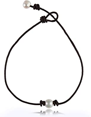 Single Pearl Choker Genuine Leather Necklace Handmade Jewelry Gifts for Women