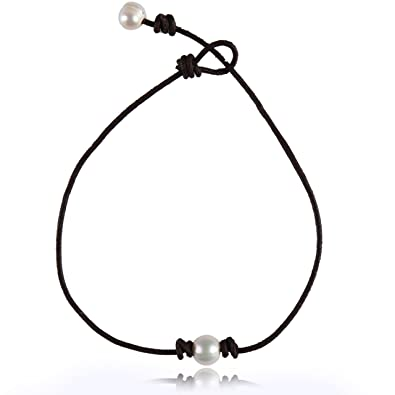 Amazon Com Barch Young Single Pearl Choker Necklace On Brown