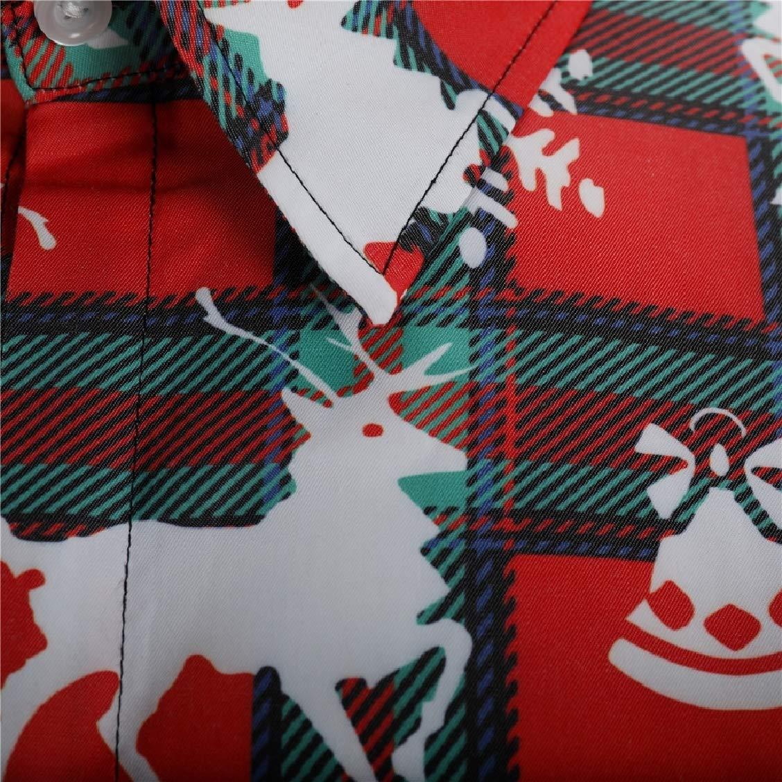 FieerMen Oversize Christmas Theme Deer Christmas Tees Work Shirt
