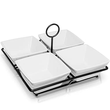 Condiment & Snack Serving Set: 4 White Stoneware Bowls with Metal Display Stand | Perfect for Appetizers, Nuts, and Candy