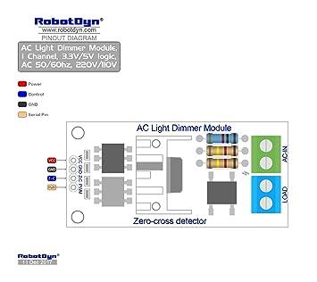 RobotDyn - AC Light Dimmer Module, 1 Channel, 3 3V/5V logic, AC 50/60hz,  220V/110V