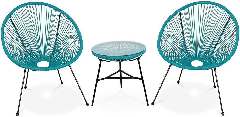 Alice's Garden Lot de 2 fauteuils Acapulco Forme d'oeuf avec Table d'appoint Turquoise Fauteuils 4 Pieds Design rétro, avec Table Basse, Cordage