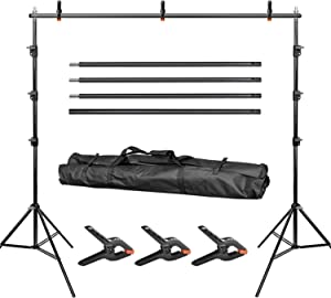 LimoStudio 10 ft. Wide Background Support System, 9.4 ft. Tall Backdrop Stands with Spring Clamps and Carry Bag Case, Photo Video Studio, AGG1114