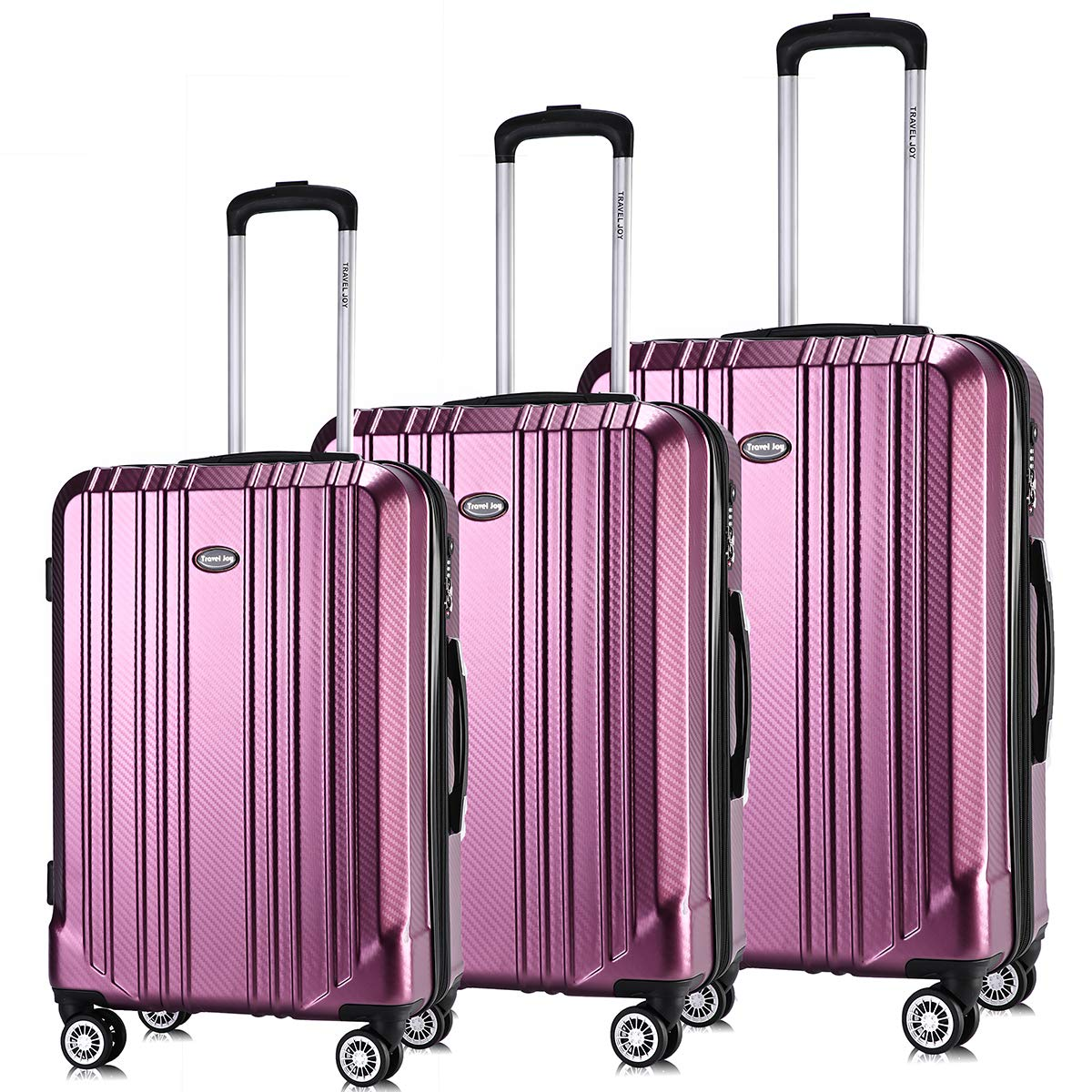 Luggage Set Expandable Premium Carbon Fiber Suitcase 3 Piece Set TSA Lightweight Spinner Carry On Luggage VIOLET