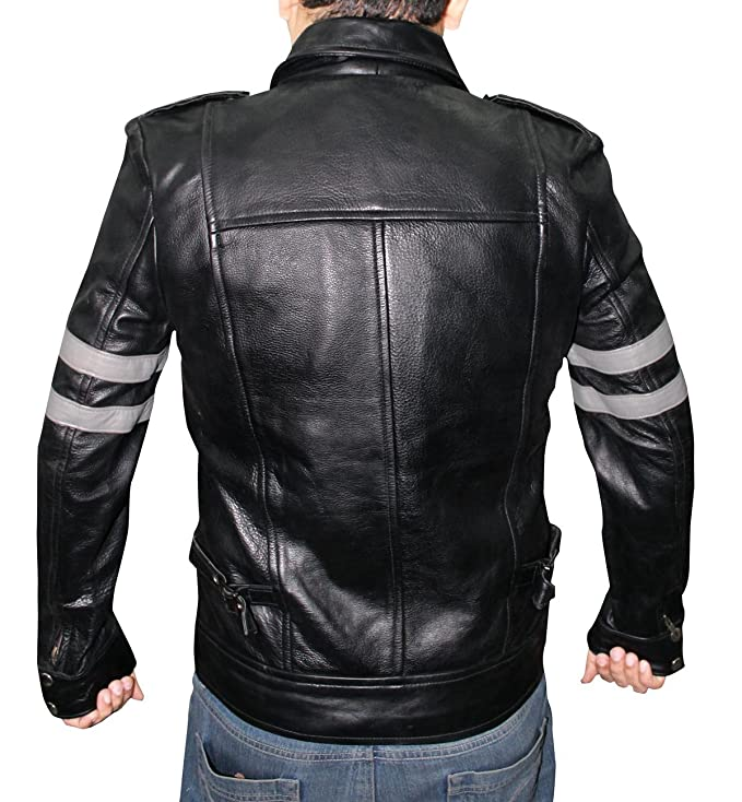 Biker Mens Black Leather Jacket at Amazon Men s Clothing store  4143b5886f73
