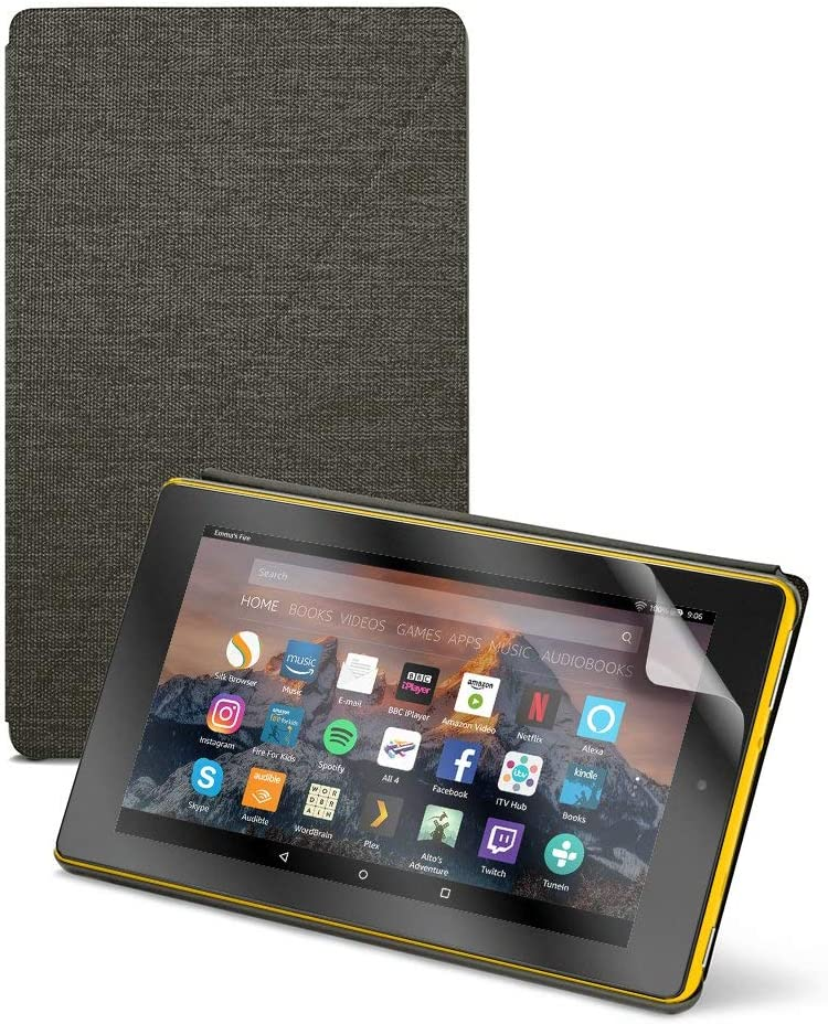 "Fire HD 8 Tablet (8"" HD Display, 16 GB) - Yellow + Amazon Fire HD 8 Tablet Case, Charcoal Black + NuPro Clear Screen Protector (2-Pack)"