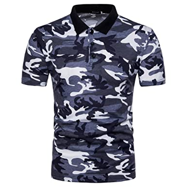 e3a8c241ecf2 Image Unavailable. Image not available for. Color  AUSKA 2018 Fashion  Camouflage Men s Polo Shirt Casual Print Turn-down Collar ...
