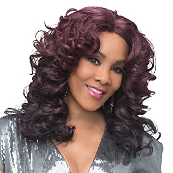 Amazon.com : Vivica A. Fox SERENITY New Futura Fiber, Natural Baby Hair Lace Front Wig in Color 99J : Beauty