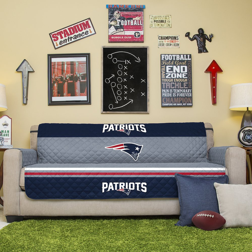 Pegasus Home Fashions NFL New England Patriots Sofa Couch Reversible Furniture Protector with Elastic Straps, 75-inches by 110-inches