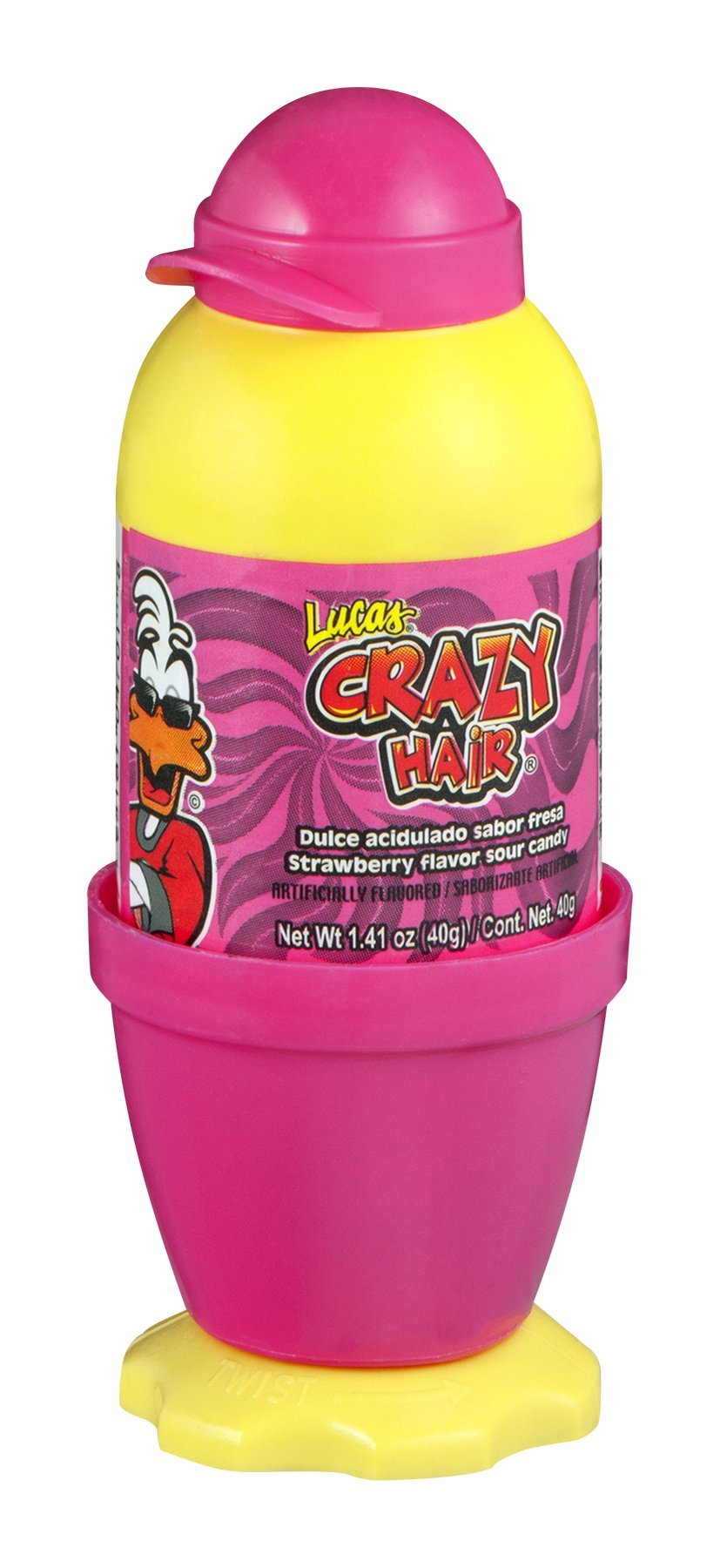 Lucas Crazy Hair Sour Candy Strawberry 12 CT (Pack of 12)