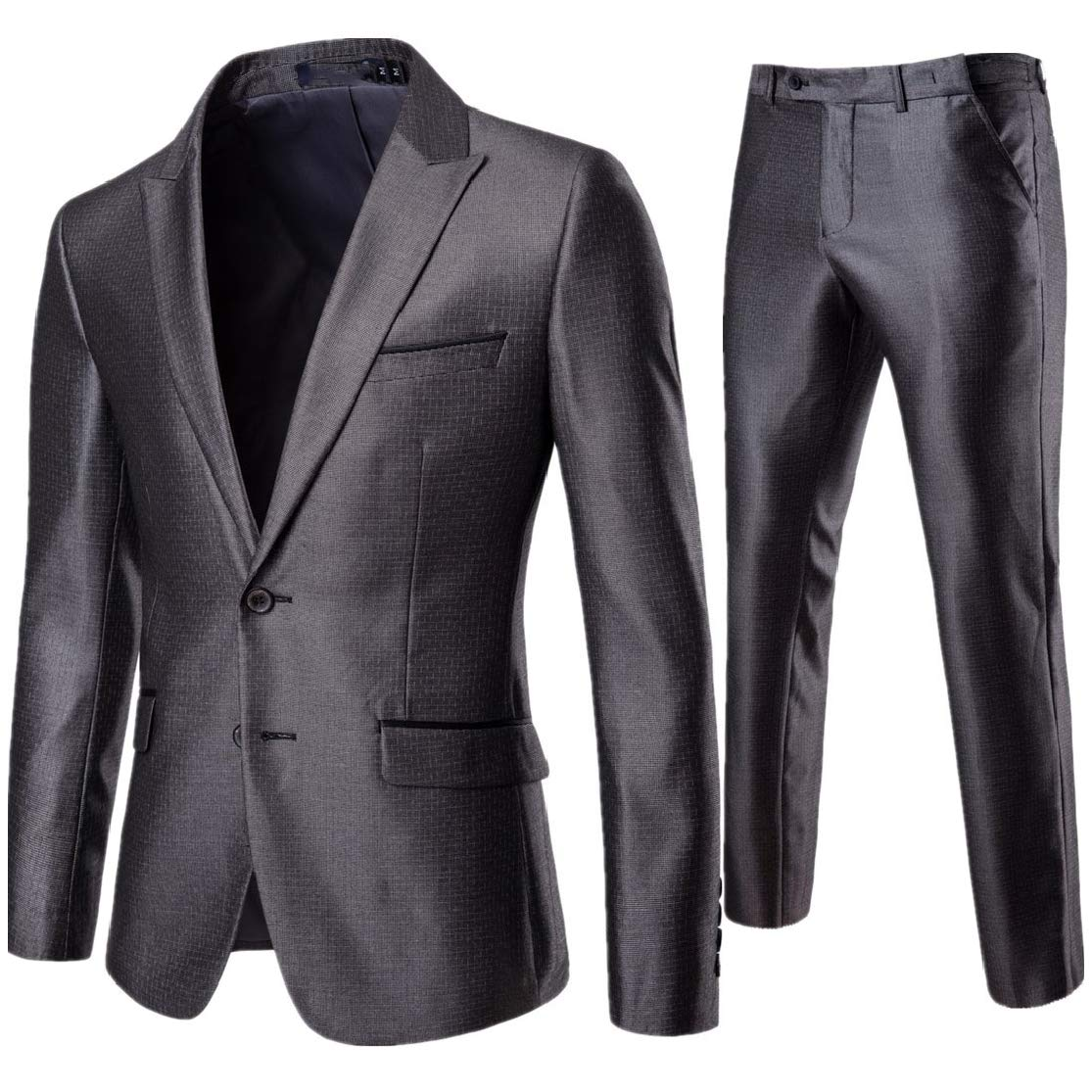 Comaba Mens Bussiness 2 Buttons Gentleman Party Blazer Jacket /& Trousers Set 2-Piece