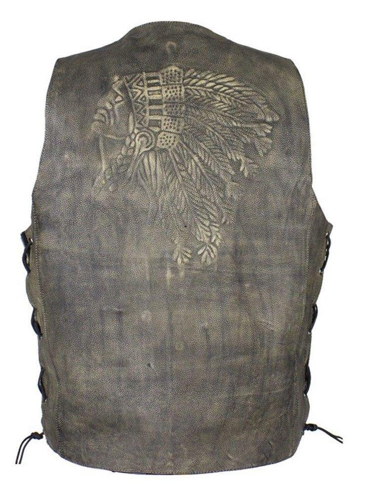 bikersgearonline Men's Motorcycle Distressed Brown Leather Vest Native American Embossed Back (50 Regular)