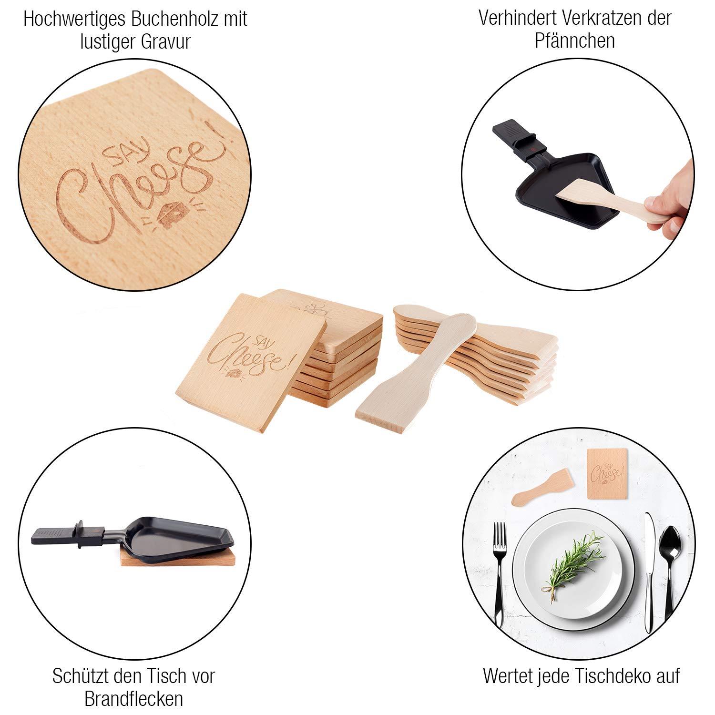 16 Unids. Amazy Accesorios para Raclette 8 posa sartenes de madera para una agradable velada con familia y amigos 8 esp/átulas para raclette + E-book gratis