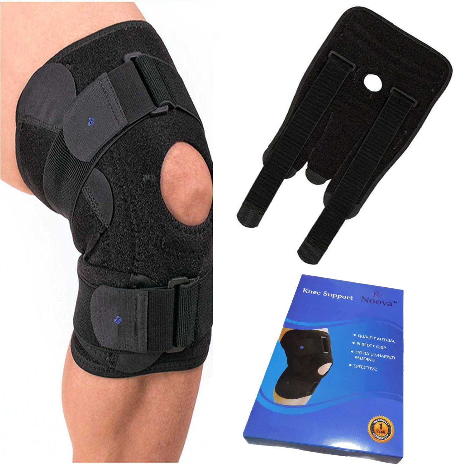 Noova Knee Caps for Women and Men -Neoprene Knee Support for Knee Pain Relief, Adjustable Knee Brace for Gym, Running, Sports,Knee Wraps for Daily Use - Free Size- 1 Piece (Black) product image