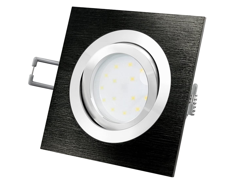 LED-Einbaustrahler Ultra flach (30mm) QF-2 quadratisch Alu schwarz ...