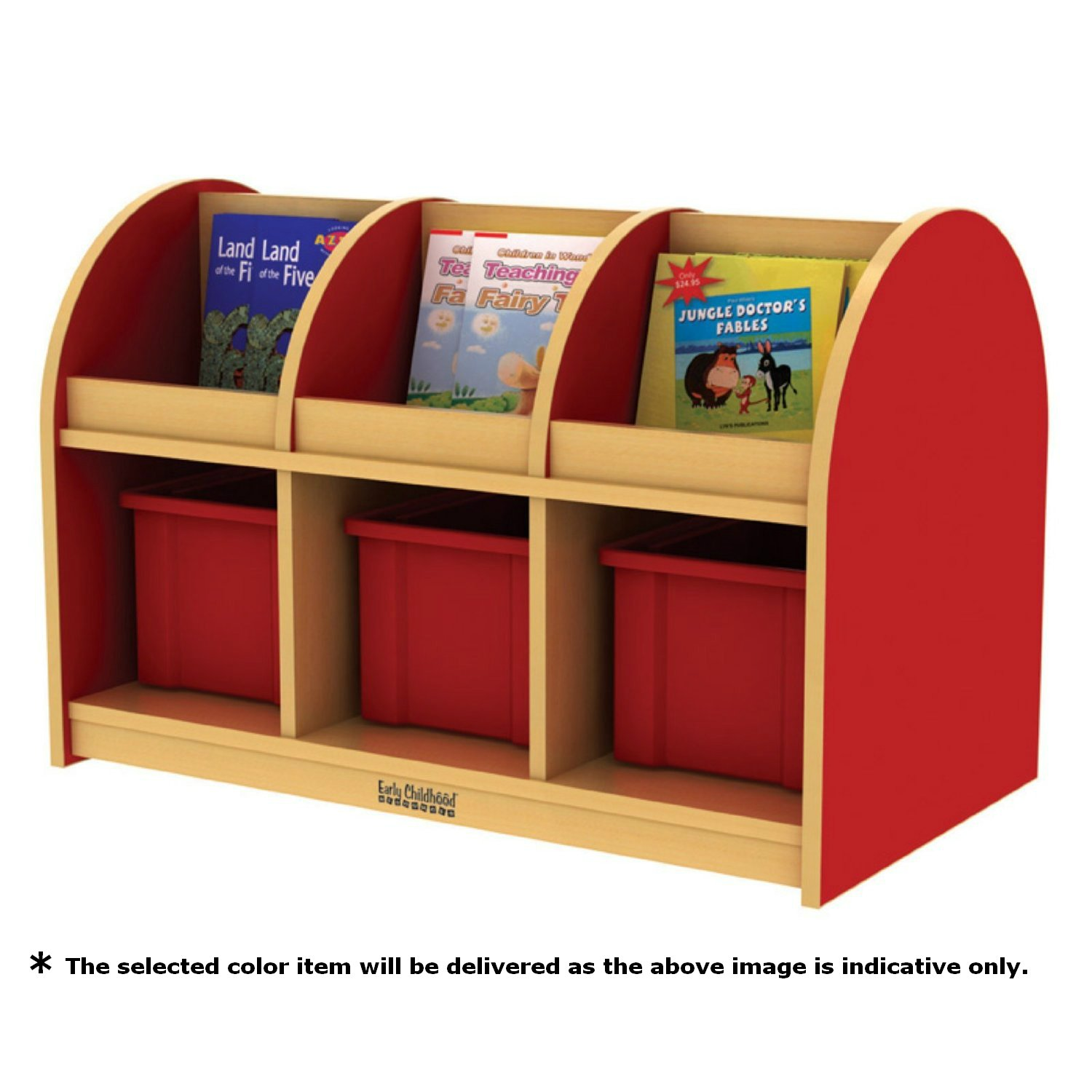 ECR4Kids Colorful Essentials Double-Sided Book Display and Storage, Toddler, Maple/Blue