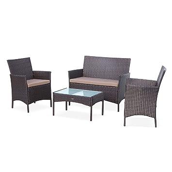 Salon de Jardin en résine tressée - Moltès - Chocolat, Coussins Chocolat -  4 Places - 1 canapé, 2 fauteuils, Une Table Basse